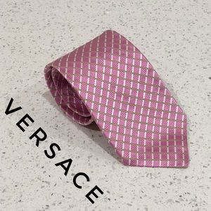 Versace Pink Green Checkered Striped Silk Tie EUC